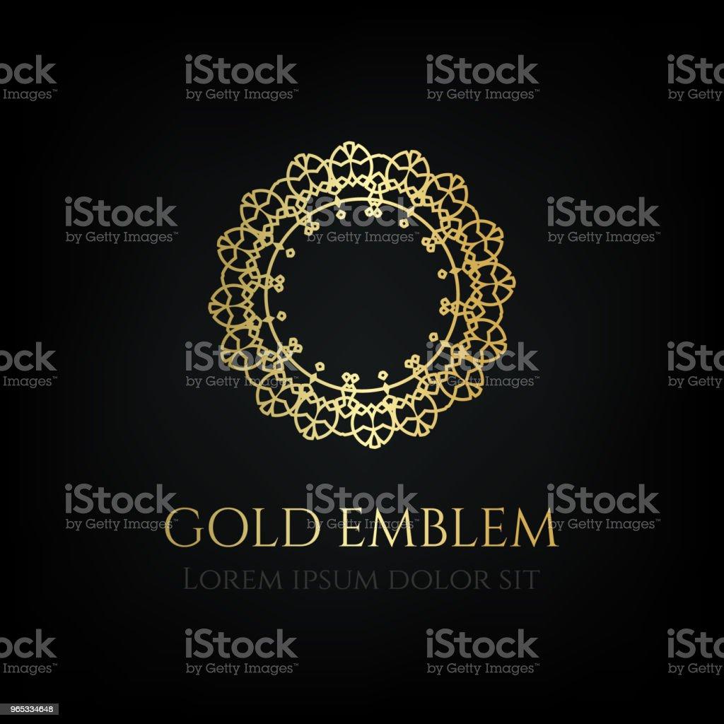 Decorative golden round emblem. Ornamental vector motif. decorative golden round emblem ornamental vector motif - stockowe grafiki wektorowe i więcej obrazów butik royalty-free