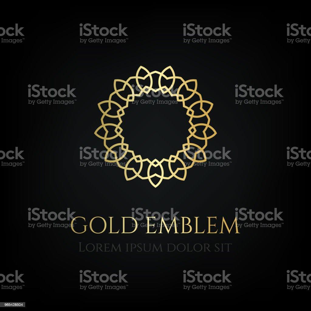 裝飾金色圓徽。觀賞向量主題。 - 免版稅俄羅斯圖庫向量圖形