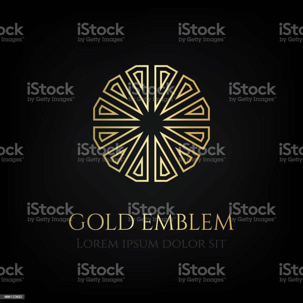 Dekorativa gyllene runda emblemet. Prydnads vektor motiv. - Royaltyfri Blomsterkrans vektorgrafik