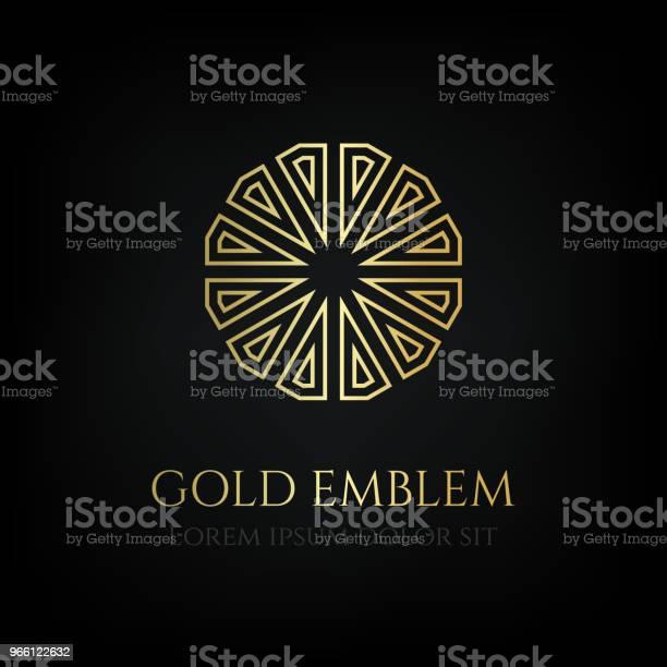 Dekorativa Gyllene Runda Emblemet Prydnads Vektor Motiv-vektorgrafik och fler bilder på Blomsterkrans