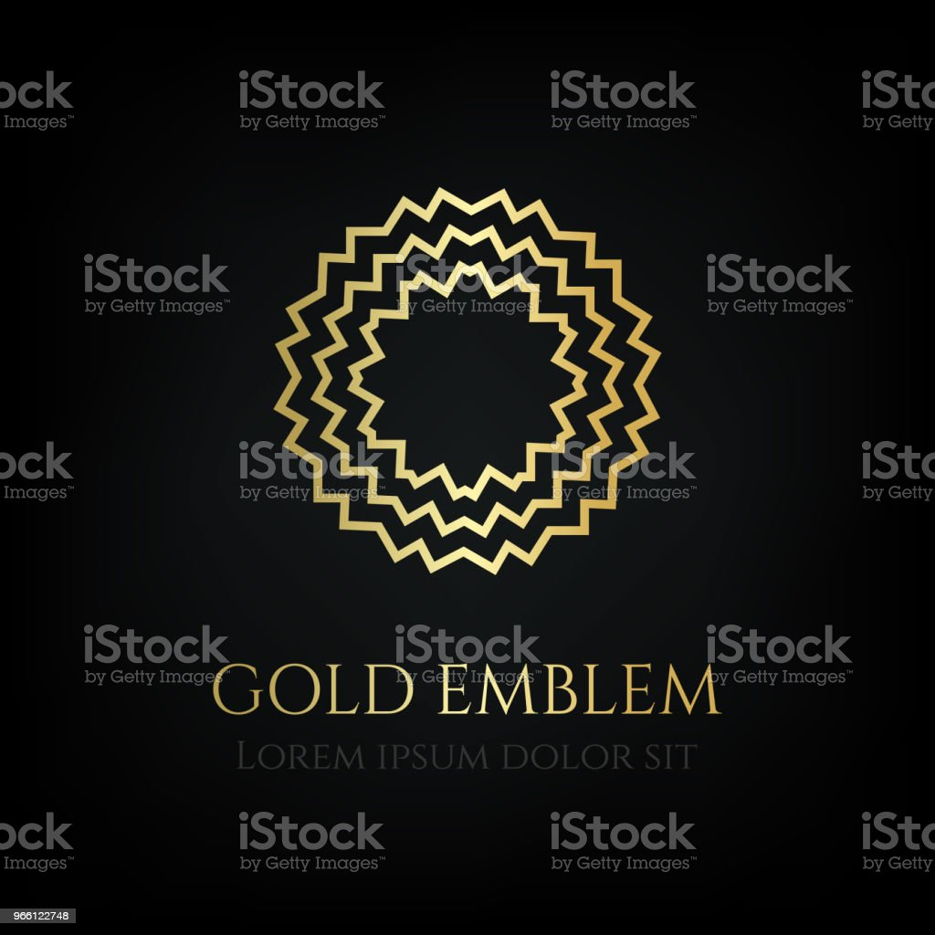 Decorative golden round emblem. Ornamental vector motif. - Royalty-free Badge stock vector