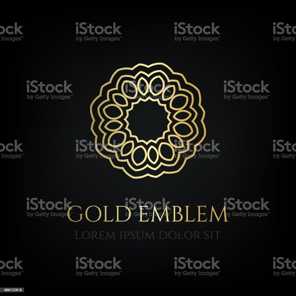 Decorative golden round emblem. Ornamental vector motif. - Royalty-free Badge stock vector