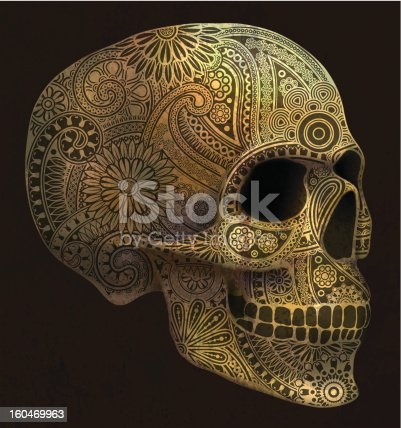 Decorative golden skull with paisley