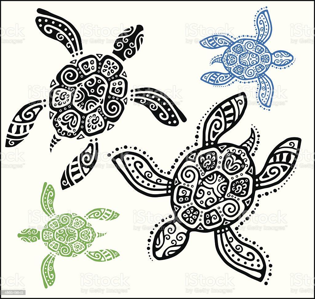 Ilustración de Tortuga Gráfico Decorativos Tatuaje Estilo Totem ...