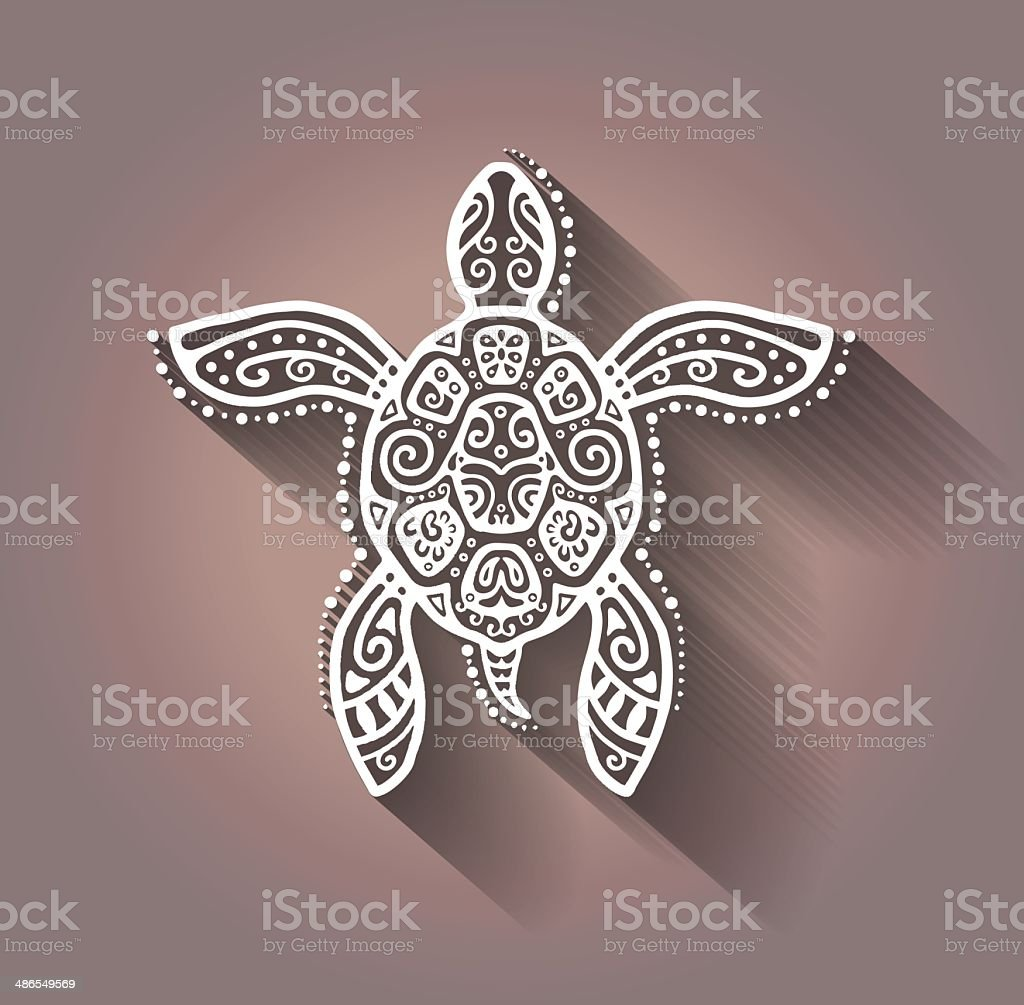 Decorative graphic turtle, tattoo style, tribal totem animal, lace pattern vector art illustration