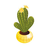 Decorative green blooming cactus with flowers in a yellow pot. Exotic home plant concept. Isolated vector icon illustration on white background in cartoon style.