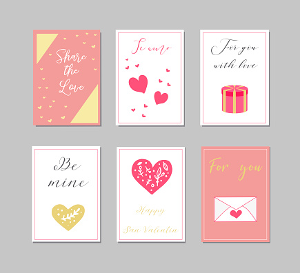 Decorative greeting cards for Valentine s Day.Typography set.The main symbols of the holiday. Vector logo, emblems, text design. Usable for banners, greeting cards, gifts etc.