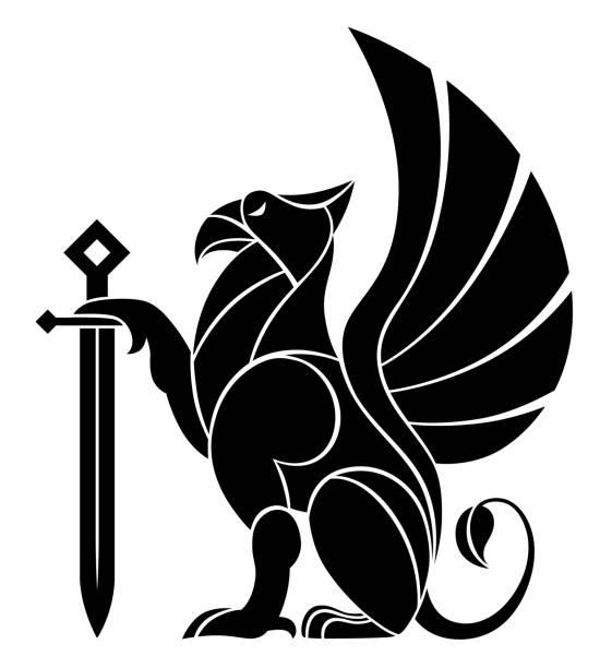 칼으로 장식 그리핀 - 그리핀 stock illustrations