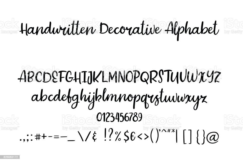 Dekoratif El çekilmiş Alfabe El Yazısı Fırça Yazı Tipi Modern Hat