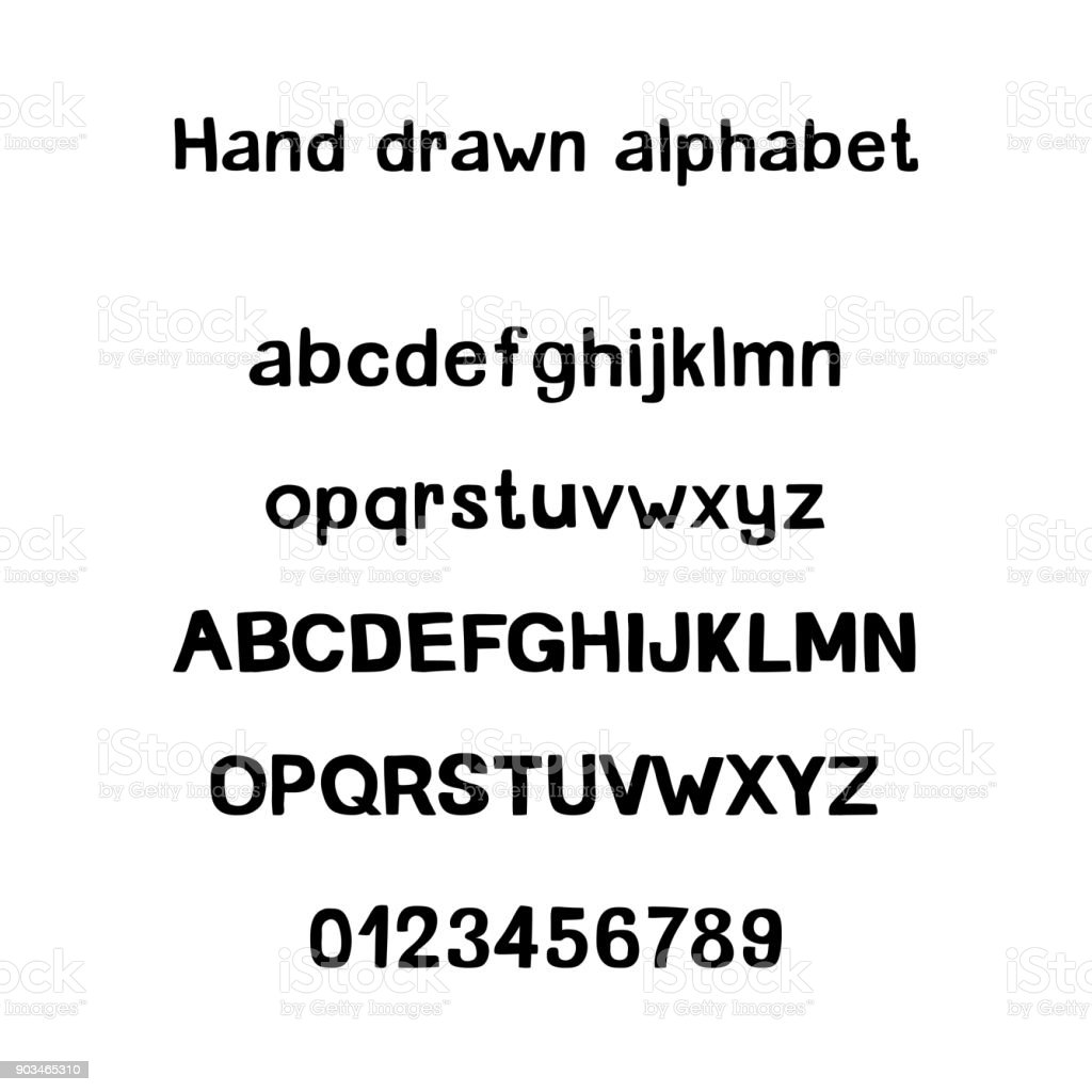 Decorative hand drawn alphabet. Handwritten brush font. Modern ABC vector art illustration