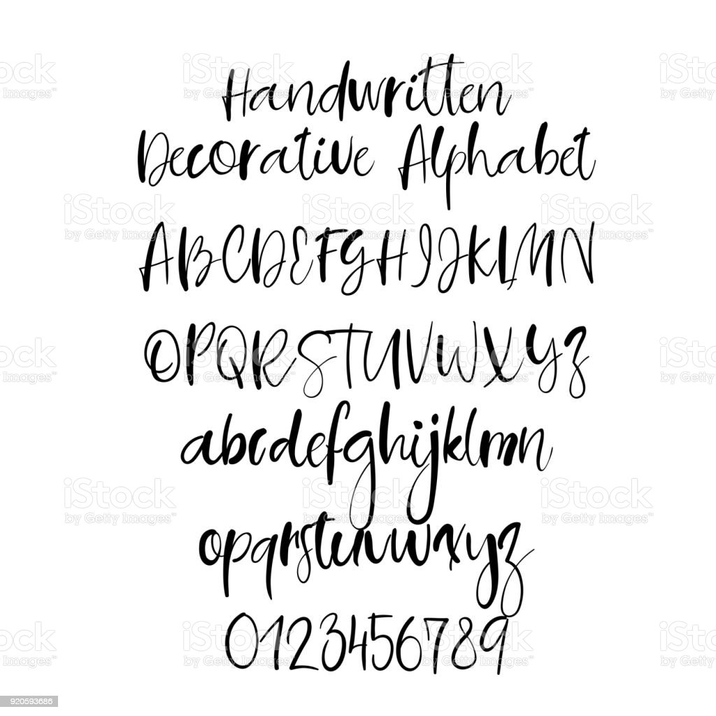 Decorative Hand Drawn Alphabet Handwritten Brush Font Modern Calligraphy ABC Royalty Free