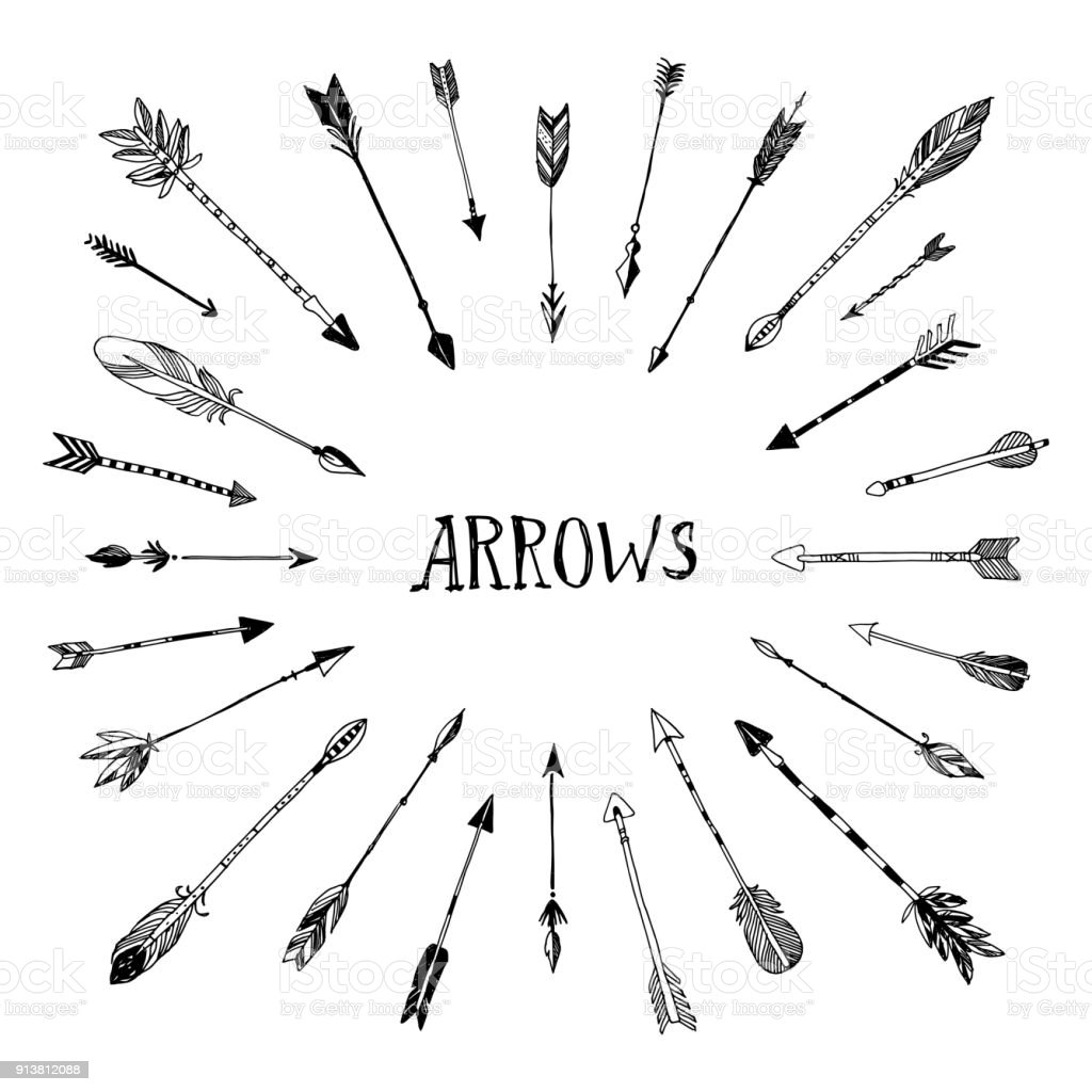 Decorative Hand Drawn Arrows Collection Stock Illustration ...