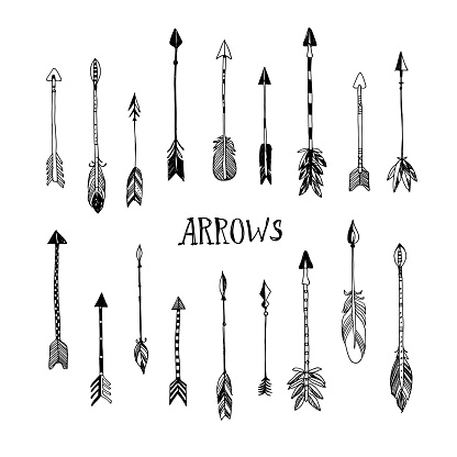 Decorative hand drawn arrows collection