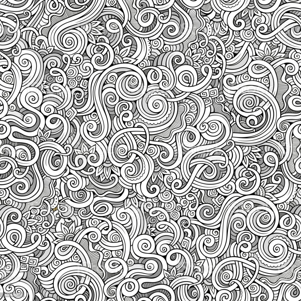 Decorative hand drawn doodle nature ornamental curl  seamless pattern vector art illustration