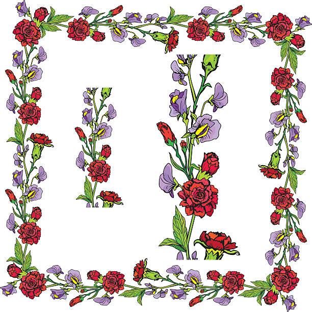 ilustrações de stock, clip art, desenhos animados e ícones de decorativo handdrawn floral fronteira e moldura - lian empty