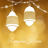 Decorative hanging arabic lanterns. Festive golden glitter blurred web background, bokeh lights. Greeting card, invitation for muslim community holy month Ramadan Kareem. - stock vector