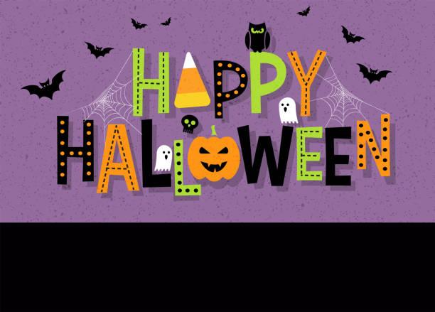 illustrazioni stock, clip art, cartoni animati e icone di tendenza di tipografia decorativa happy halloween con elementi di design di halloween. - halloween