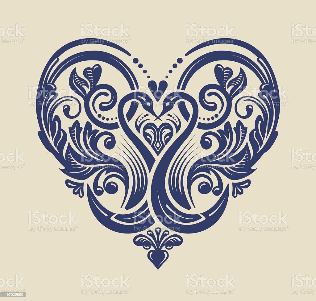 Decorative heart design vector art illustration