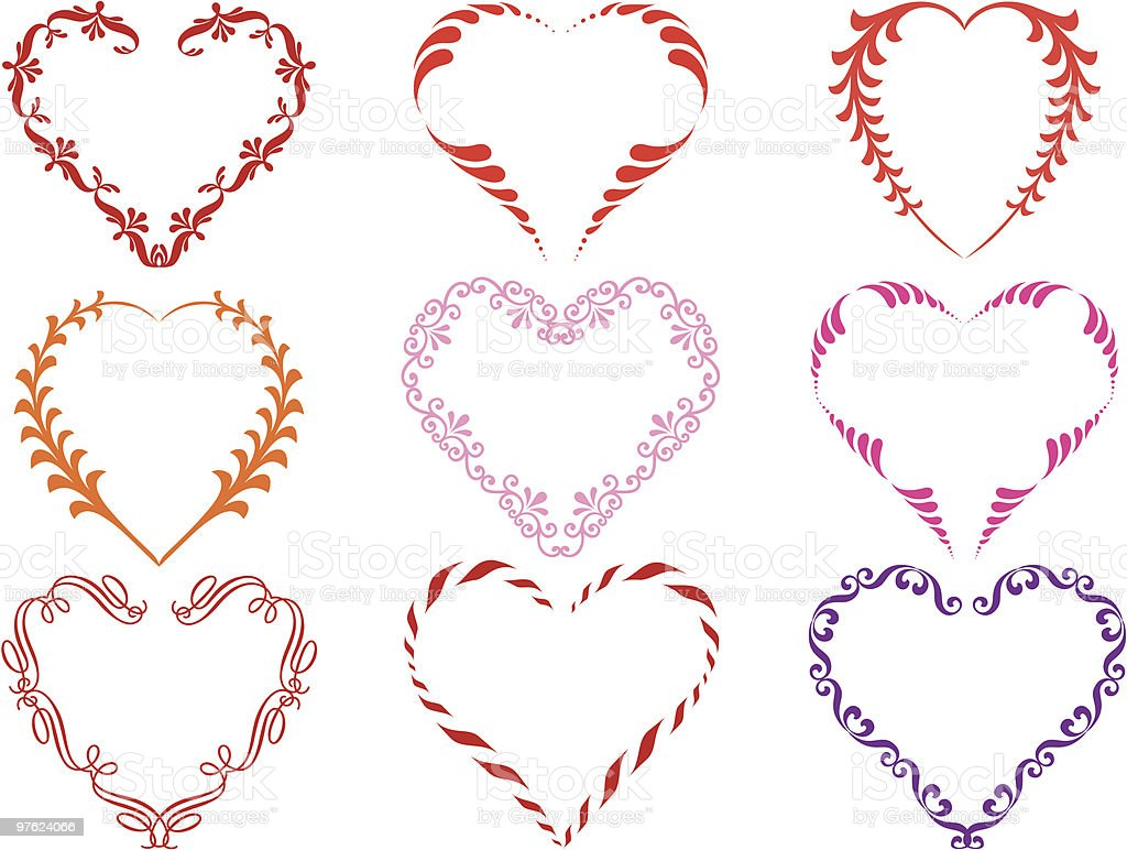 decorative heart frames, vector royalty-free decorative heart frames vector stock vector art & more images of art and craft
