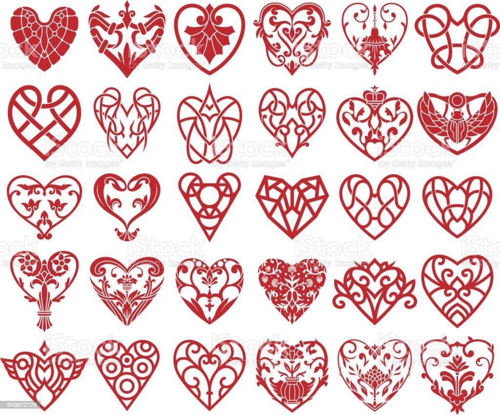 Decorative Heart Ornaments Set vector art illustration