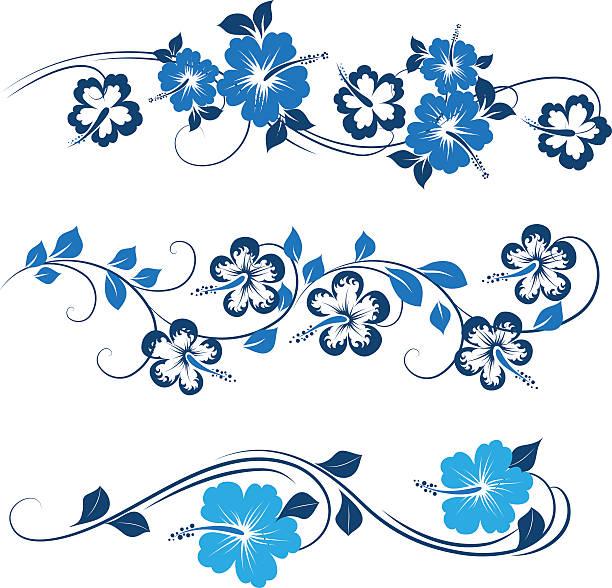 dekorative hibiskus - hibiskusgarten stock-grafiken, -clipart, -cartoons und -symbole