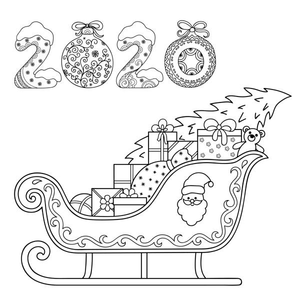 Best Santa Figure In Sleigh Illustrations Royalty Free Vector