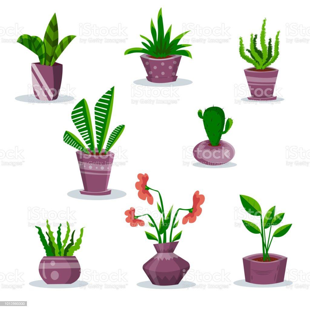 すみれ色の鍋でホーム観葉植物 アイコンセットのベクターアート素材や