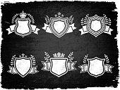 Decorative Honorary Shield Grunge Set
