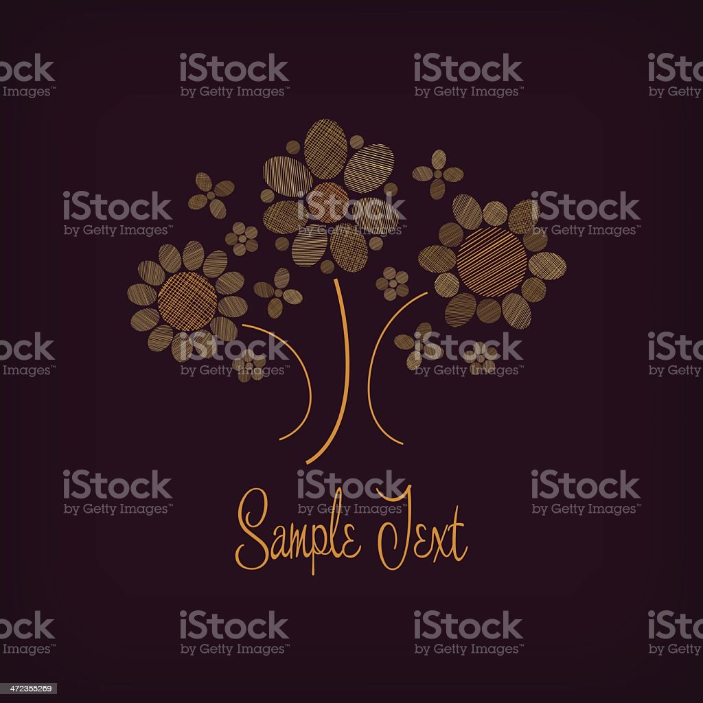 Decorative illustration with bunch of golden flowers royalty-free stock vector art