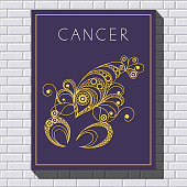 Decorative zodiac sign Cancer. Horoscope and astrology (astronomy)-symbol. Vector illustration.