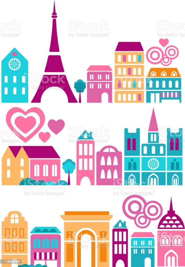 Decorative Image Of Paris Streets And Eiffel Tower Royalty Free