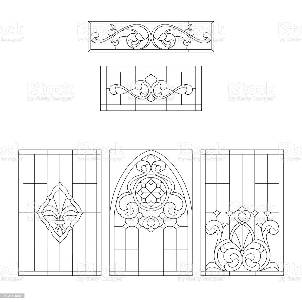 decorative items for stained glass vector art illustration