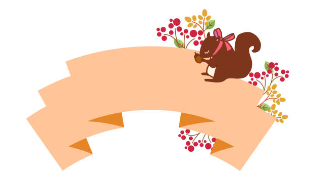 Decorative label for squirrel and ribbon vector art illustration