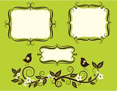 A set of label frames with birds and blossoming branches.