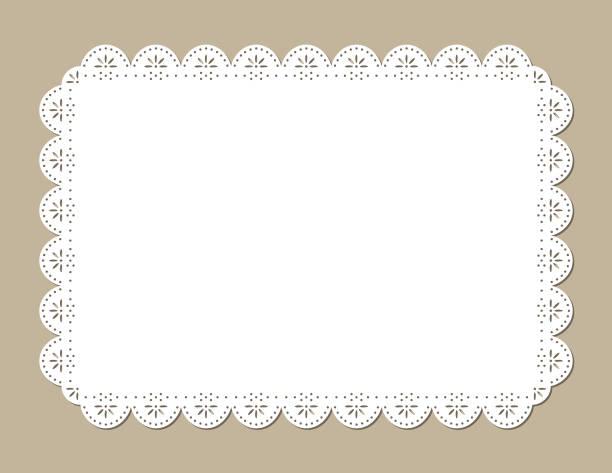 装飾的なレースのランチョン マット、ビンテージ紙カットアウト デザイン - ランチョンマット点のイラスト素材/クリップアート素材/マンガ素材/アイコン素材