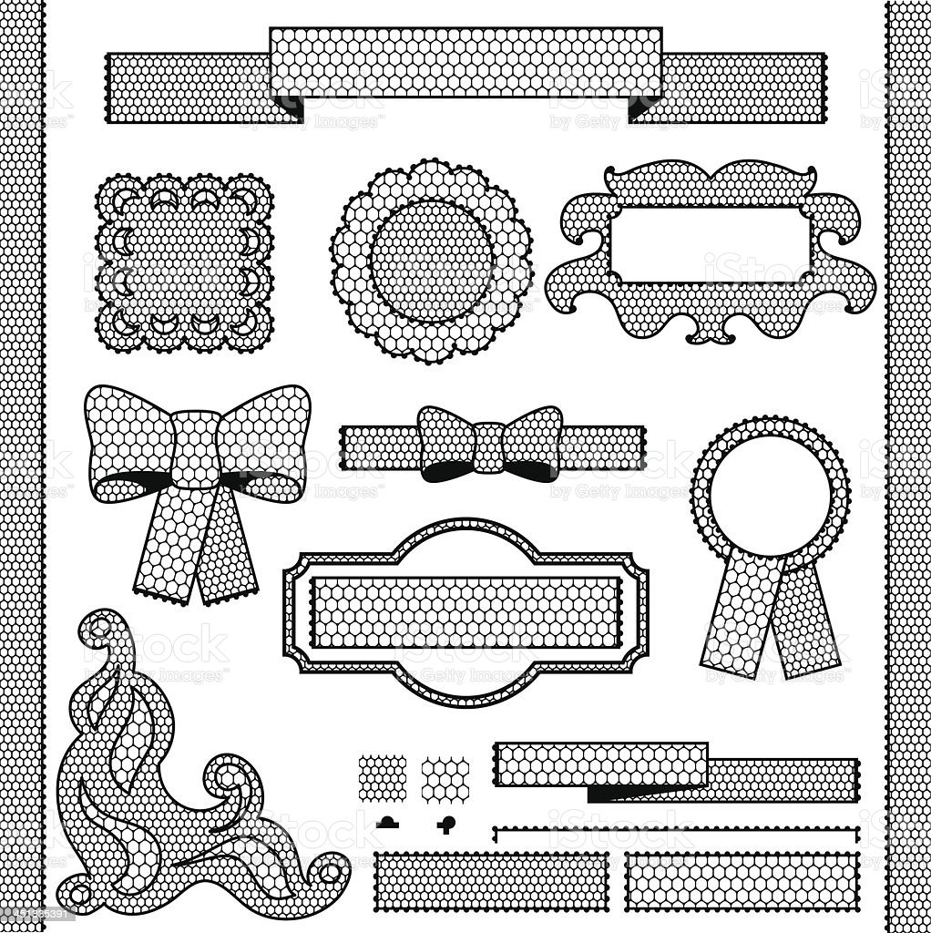 Decorative lace ribbon, bows and ornaments. royalty-free stock vector art