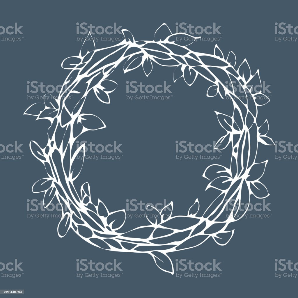 Decorative laurel wreath, isolated on gray background vector art illustration