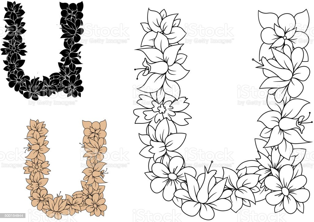 Decorative Letter U With Vintage Floral Pattern Stock Vector Art