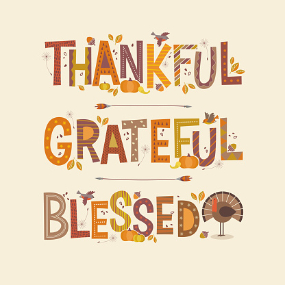 Decorative lettering Thankful, Grateful, Blessed. Thanksgiving holiday design.