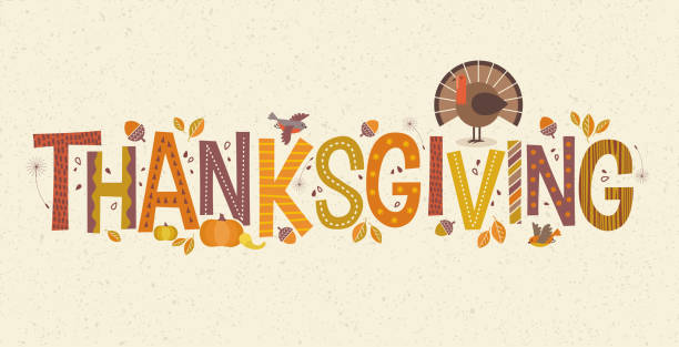 decorative lettering thanksgiving with seasonal design elements and turkey. - thanksgiving stock illustrations