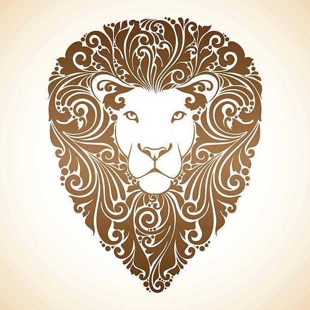 Decorative lion with ornamental mane Decorative lion with ornamental mane. Vector illustration mistery stock illustrations