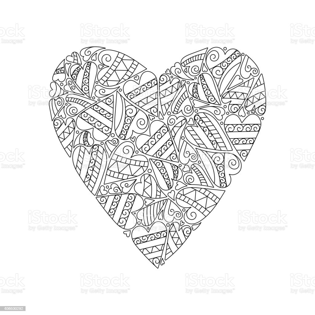 Decorative Love Heart Vector Illustration Coloring Book For ...
