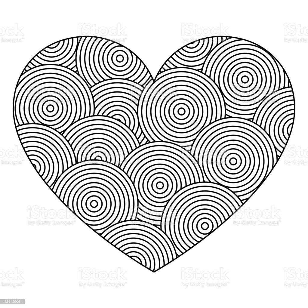 Dekoratif Aşk Kalp Süsleme çevrelerin Ile Tebrik Kartı Için Boyama