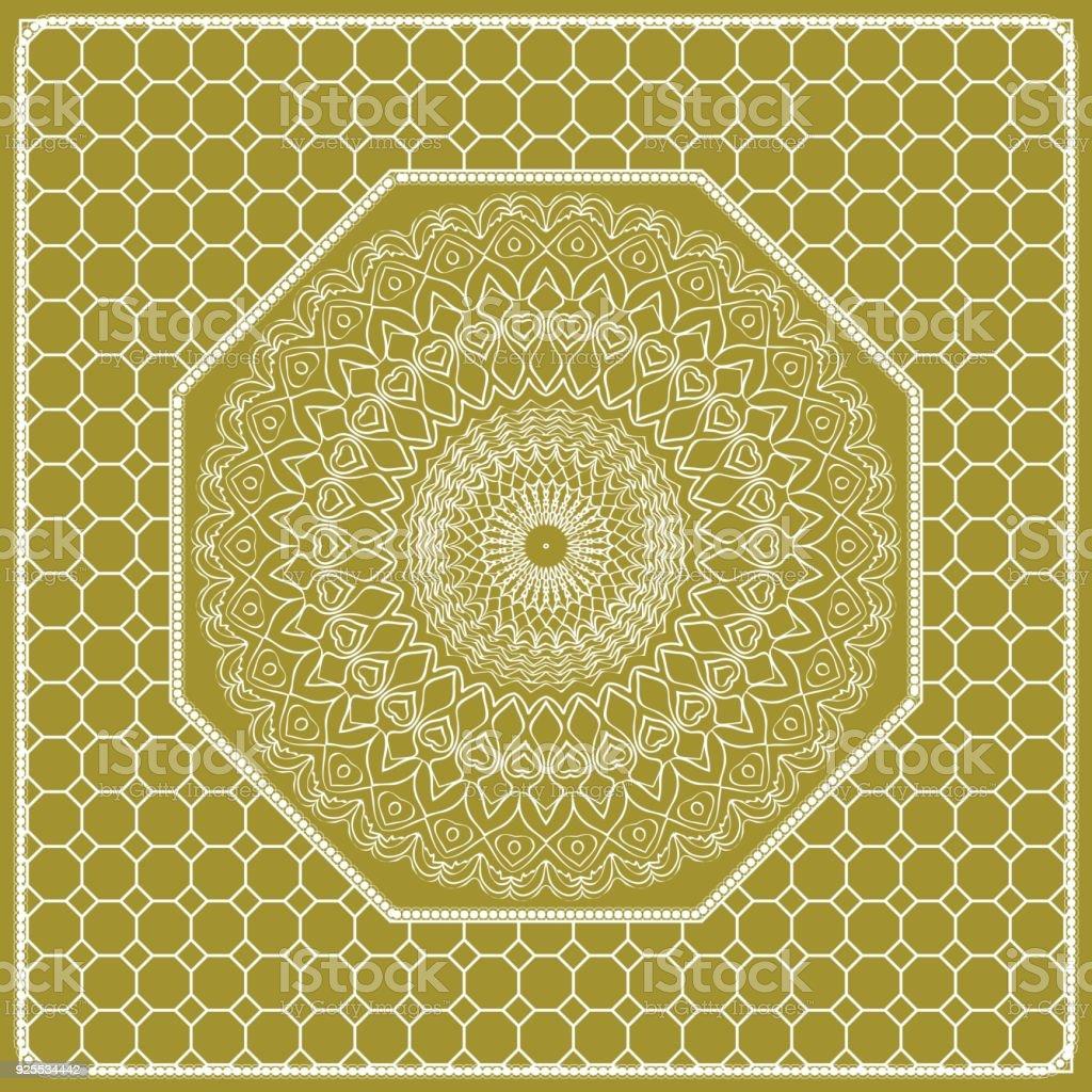 Dekoratif Mandala Cicek Susleme Desen Vektor Cizim Kabile Etnik