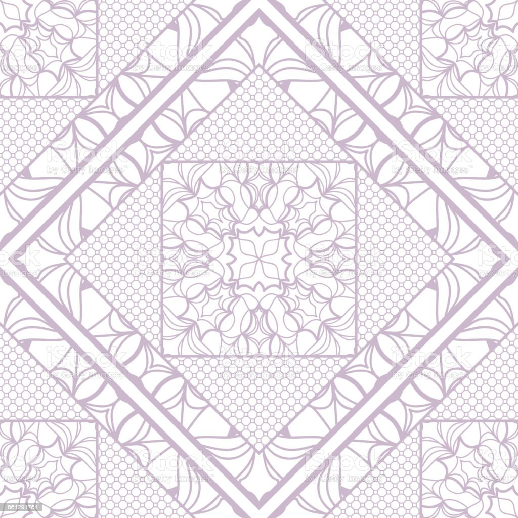 decorative mandala geometric lace ornament. Vector seamless pattern. Modern stylish design. for fabric print, wallpaper, invitation. purple color royalty-free decorative mandala geometric lace ornament vector seamless pattern modern stylish design for fabric print wallpaper invitation purple color stock vector art & more images of arts culture and entertainment