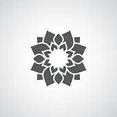 Decorative modern monochrome mandala flower design isolated on a light background