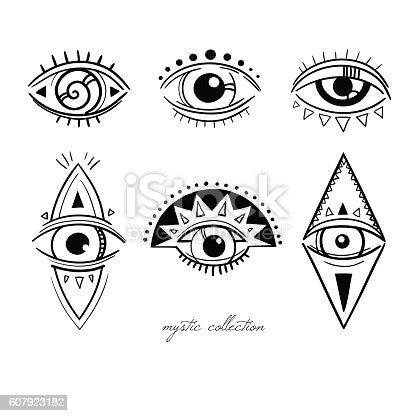 Decorative Mystic Symbols With Eyes Stock Vector Art