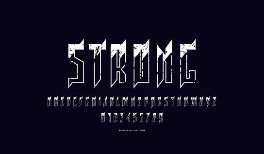 Decorative narrow sans serif font with elements of thorns