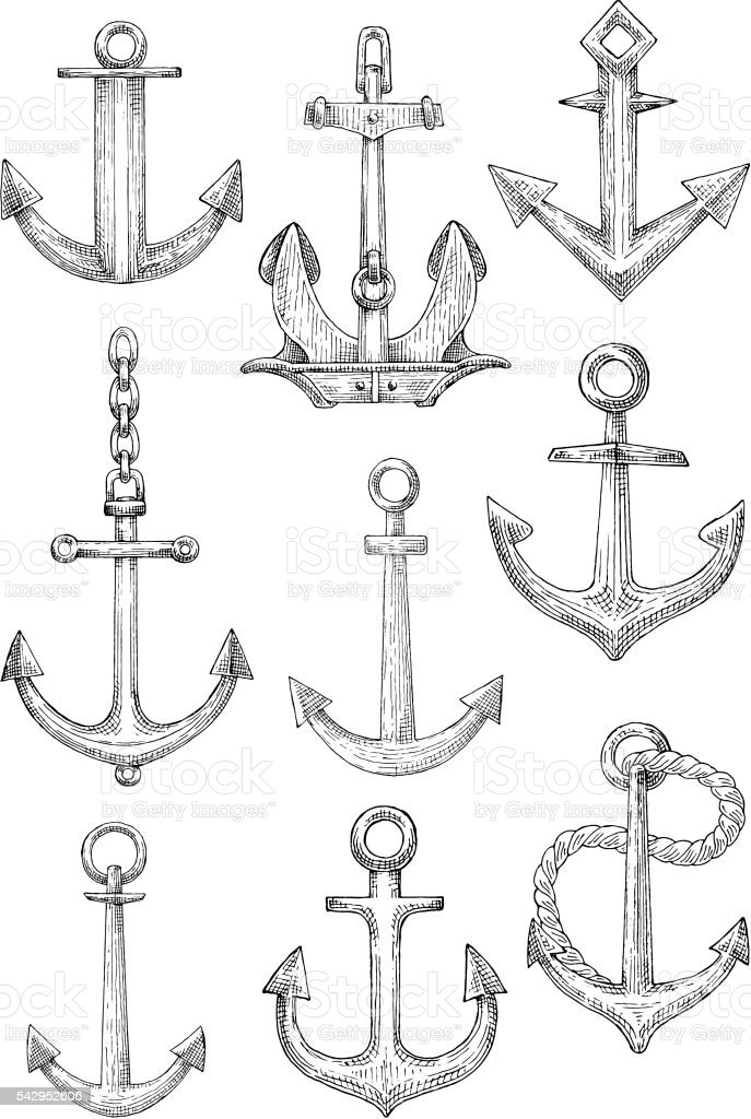 Decorative nautical anchors with chain and rope vector art illustration