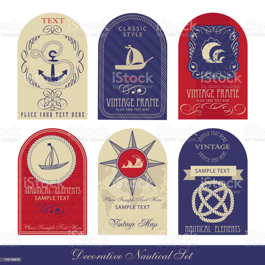 Decorative Nautical Set royalty-free stock vector art
